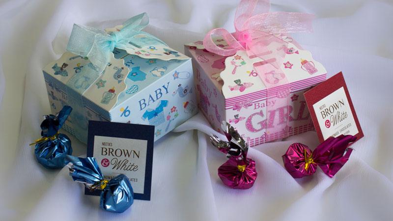 Handmade Chocolate Baby Announcements Gift Box